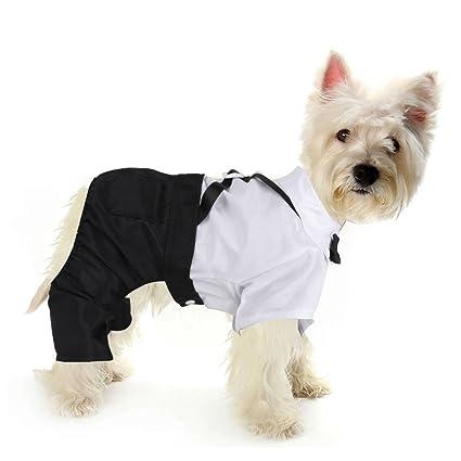iEFiEL Cute Bowtie Dog Puppy Tuxedo Shirt Suit Wedding Apparel Christmas  Picture Card