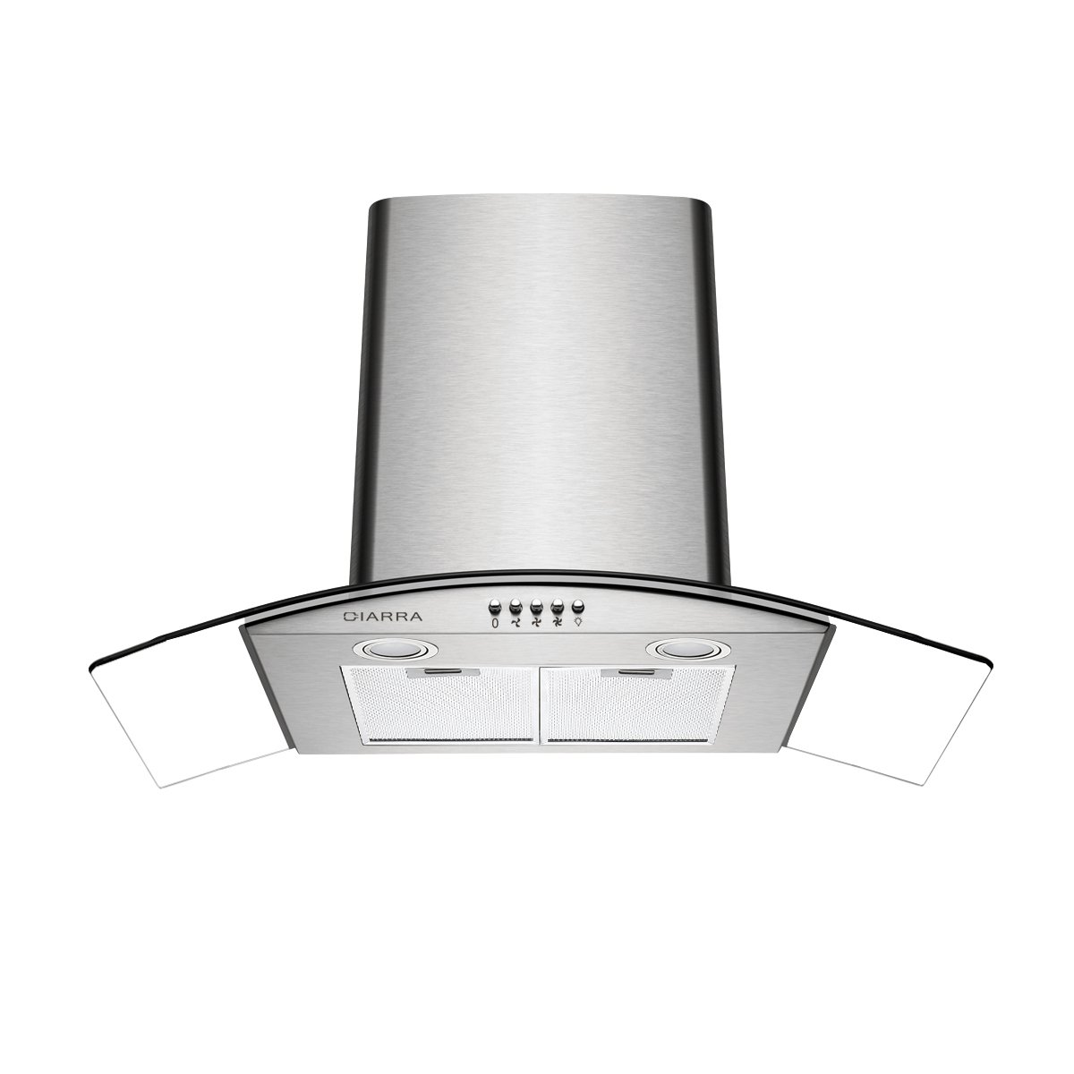 Ciarra Dunstabzugshaube 60cm / 550 m³ / h/ 3 Leistungsstufen/Glas Edelstahl-Unterbau-Haube (Abluft/Umluft) / Silber[Energieklasse C] (60cm)