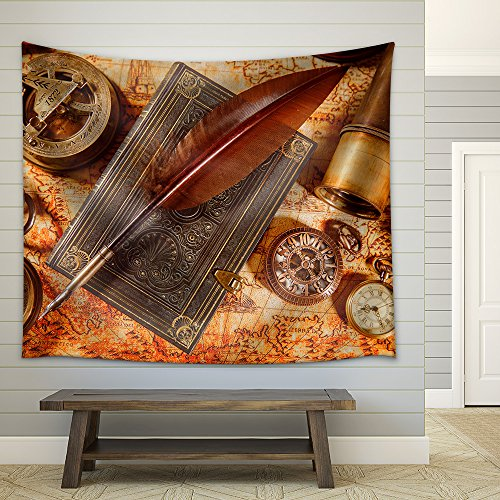 Vintage Still Life Magnifying Glass Pocket Watch Old Book and Goose Quill Pen Lying on an Old Map in 1565 Fabric Wall Tapestry