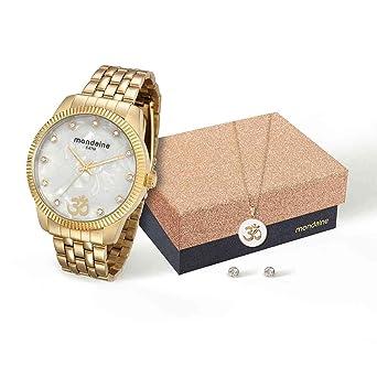 ff9f89557 Kit Relógio Mondaine Feminino Analógico Dourado 76579LPMKDE3K1 com Colar e  Brincos
