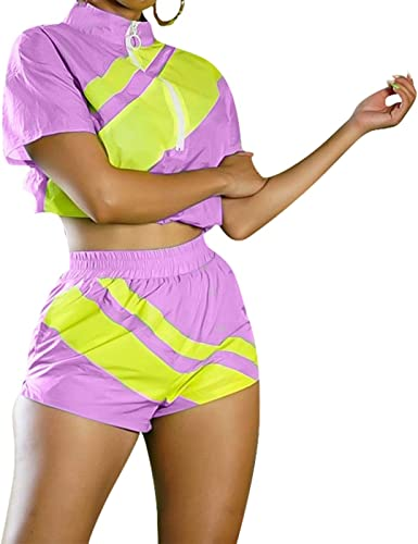 Womens Bright Color 2 Piece Outfits Half Sleeve Crop Top High Waisted Long Pants Jumpsuits