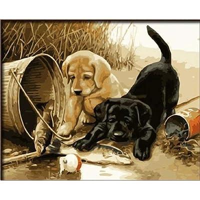 dorara DIY pintura al óleo para adultos niños pintura por número Kit Digital pintura al óleo dos perros jugar diversión 16 x 20 pulgadas: Hogar
