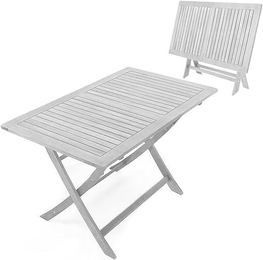 Deuba – Mesa de jardín Madera Maciza, Color Blanco, Medidas 120 x ...