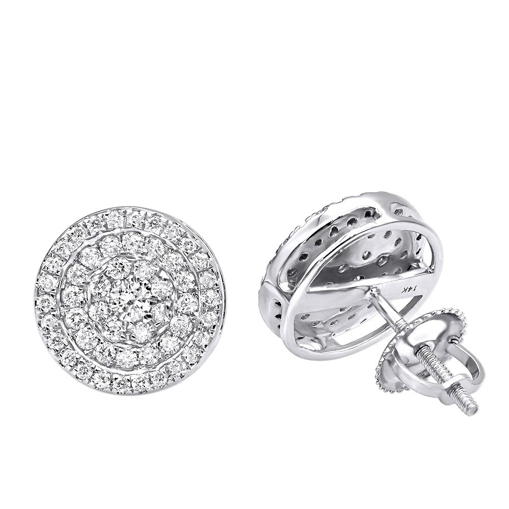 8735fe85d221f Amazon.com: 14k Rose, White or Yellow Gold Pave Real Diamond Stud ...