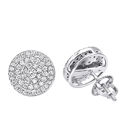 c9ba8194c35e4c Amazon.com: 14k Rose, White or Yellow Gold Pave Real Diamond Stud Earrings  for Men & Women 0.75ctw (White Gold): Jewelry