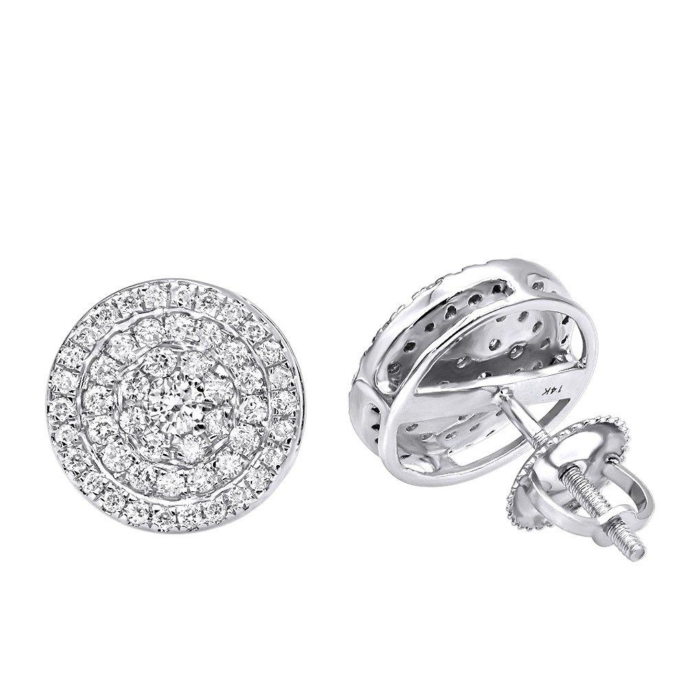 14k Rose,White or Yellow Gold Pave Real Diamond Stud Earrings for Men & Women 0.75ctw (White Gold)