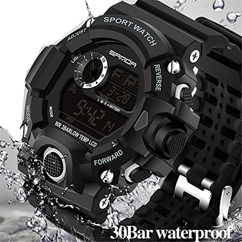 Watch Quartz Mens Bright (Wdnba Mens Watch Quartz Watch Military Watch Fashion Dive Men's Sport LED Digital Watches)