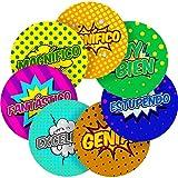 "Spanish Lessons Motivational Words Superhero Comic Reward Sticker Labels, 70 Stickers @ 1"" inch, Glossy Photo Quality, Ideal for Children Parents Teachers Schools Doctors Nurses Opticians"