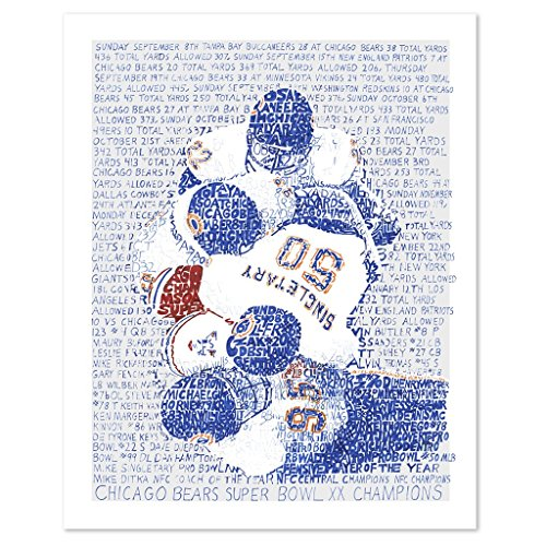 "1985 Chicago Bears Word Art Poster Print - Handwritten with Every Game Score -16""x20"" - Bears Decor - Chicago Bears Wall Art - Great Gift"