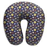 LanFong Solar System Travel Neck Pillow Super Soft Memory Foam U Pillow Neck-supportive Travel Pillow