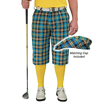 d06e1bc3155 Amazon.com   Golf Knickers Plaid and Cap  Mens  Par 5  - Rio ...