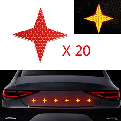 20x High Intensity Grade Reflective Safety Warning Tapes Stickers Self-Adhesive for Car Truck Motorcycle Bike Trailer Camper Helmet Fence Bags Four-Pointed Star Shape Red: Automotive