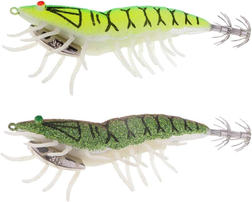 4x leuchten in dunklen Tintenfisch-Jig-Haken Garnelenköder mit leuchtendem