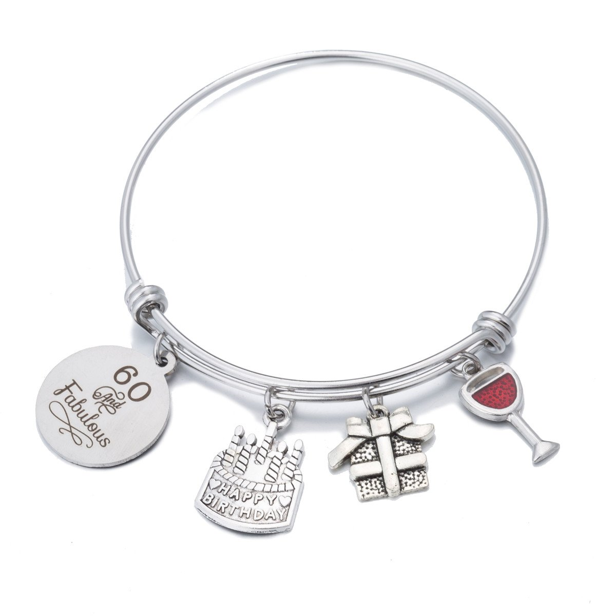 FCHEN Birthday Gifts Bangle for Women Expandable Live Laugh Love Charms Bracelets 12th 13th 16th 18th 21st 30th 39th 40th 50th 60th