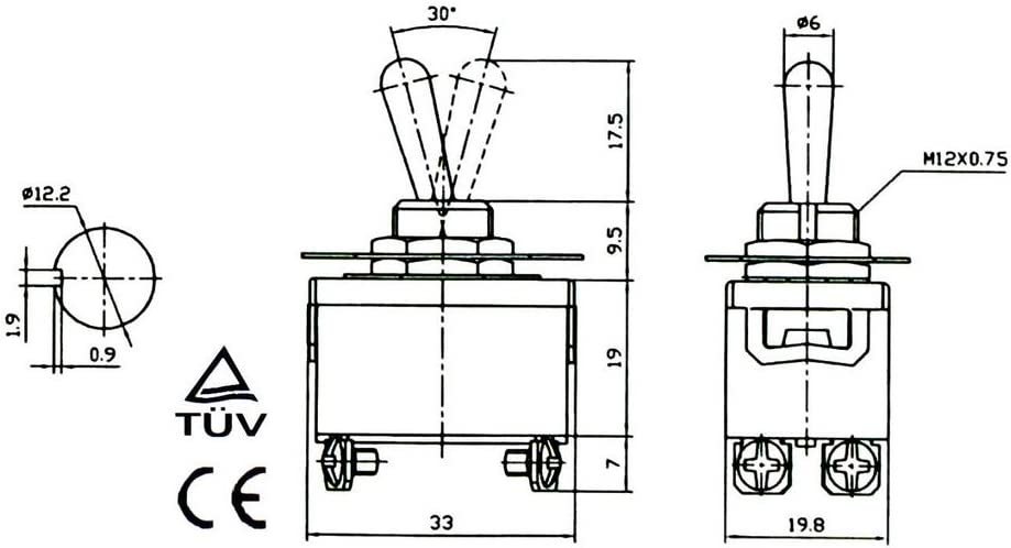 HOUTBY/™ 5Pcs Heavy Duty 20A 125V 15A 250V DPST 4 Terminal ON//OFF Rocker Toggle Switch Metal