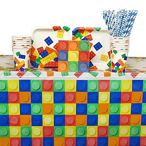 Building Blocks Party Pack for 16 Guests: Straws, Dessert Plates, Beverage Napkins, Cups, and Table (Chevron Blue Dessert Plates)