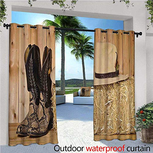 cobeDecor Western Patio Curtains Mystery Dark Skin Girl with Headdress Eye to Eye with Huge Snake Outdoor Curtain for Patio,Outdoor Patio Curtains W72 x L84 Cream Brown ()