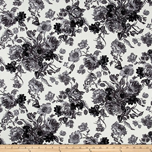 [Romantic Floral Pique Knit Print Ivory/Black Fabric By The Yard] (Pique Knit Fabric)