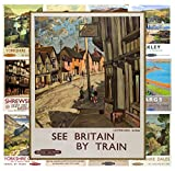 "Mini Posters Pack [12 sheets 8""x11""] Britain Towns Vintage Railroad Travel Poster Ads"
