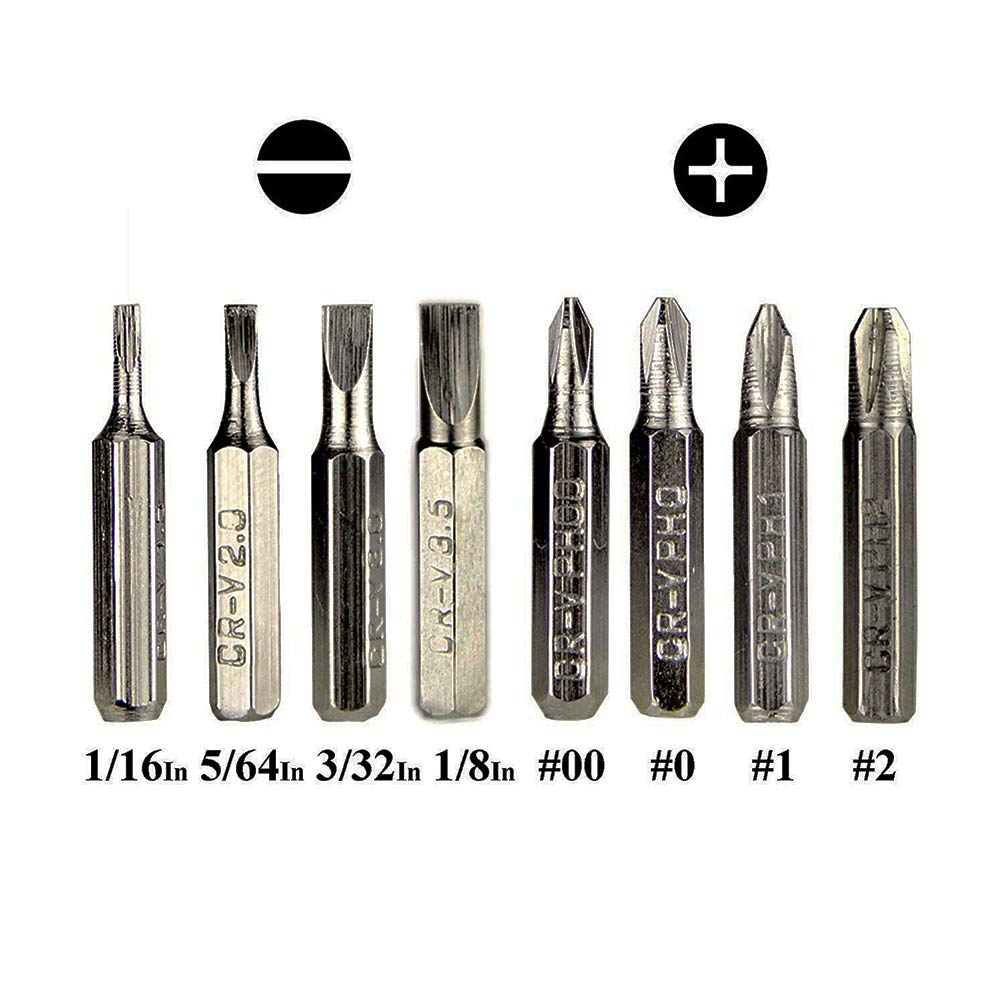 Slotted Screwdrivers: 2mm and 3mm,Phillips Screwdrivers: Sizes 1 and 2,Torx: T5 8 in 1 Precision Screwdriver Durable Mini Gadgets Repair Multi-Tool Set Kit Pen Style T6 T7 and T8-Blue