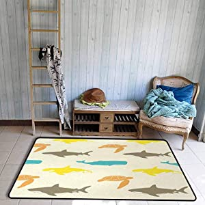 Sea Animals Area Rug Pattern with Whale Anti-Static W55 x L78 Shark and Turtle Aquarium Doodle Style Marine Life