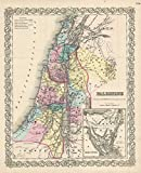 Historical 1856 Colton Map of Israel, Palestine or the Holy Land |24 x 30 Fine Art Print | Antique Vintage Map