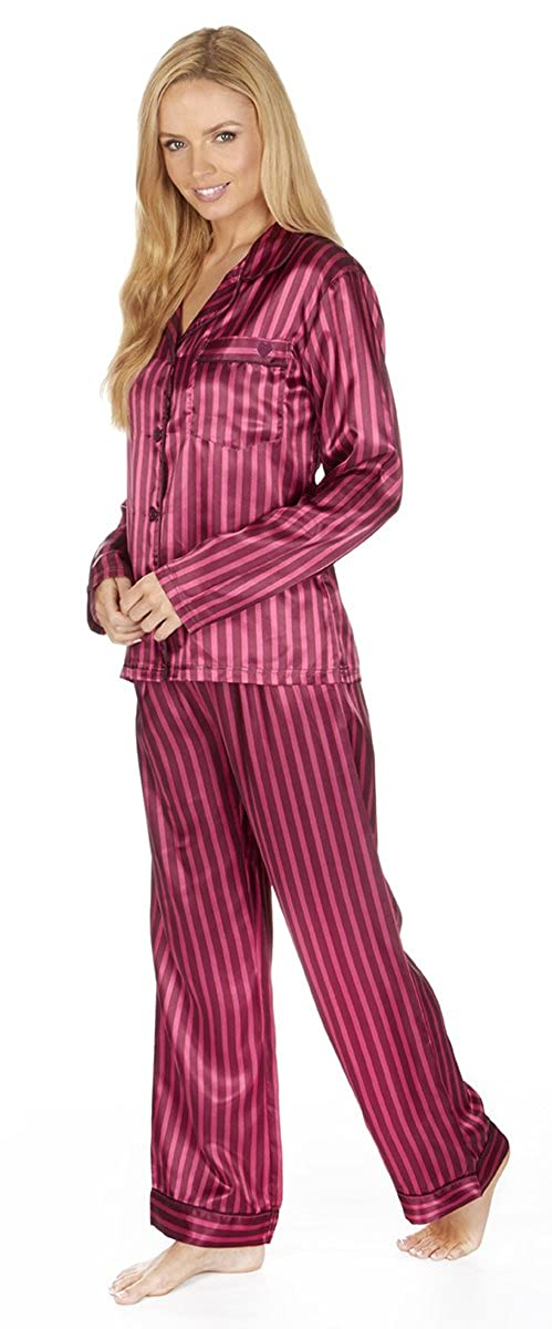 Forever Dreaming Women s Satin Striped Button Down Pajama Set at Amazon  Women s Clothing store  7f48fd9d9