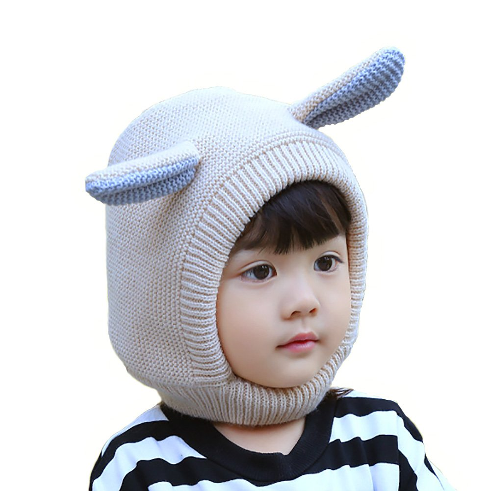 Zelta Children Winter Balaclava Hat Knitted Cute Ear Hood Scarf Cap