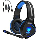 Xbox One Headset,Henscoqi 3.5mm Over-Ear Bass Surrounding Stereo Gaming Headphone with Mic,Noise Isolating Earbuds Ear Muffs for PS4/ Xbox One/PC/Nintendo Switch/Smart Phone/Laptop (Blue)