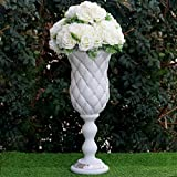 BalsaCircle 6 pcs 24'' White Wedding Vases with Crystal Beads - Party Centerpieces Decorations