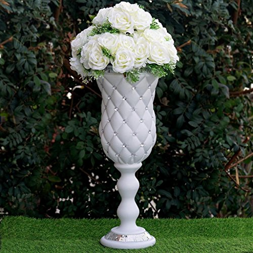 BalsaCircle 6 pcs 24'' tall White Vases with Crystal Beads for Wedding Party Flowers Centerpieces Home Decorations Cheap Supplies by BalsaCircle