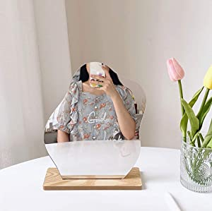 Frameless Acrylic Makeup Mirror for Desk - Table Top Beveled Makeup Vanity Mirrors, for Bedroom,Living Room and Minimal Spaces Room Decor (Cloud)