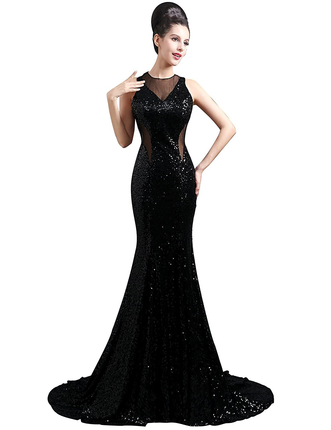 Clearbridal Women's Sequines Mermaid Prom Dress Formal Long Sheer Neck Prom Gown with Sweep Train SD300