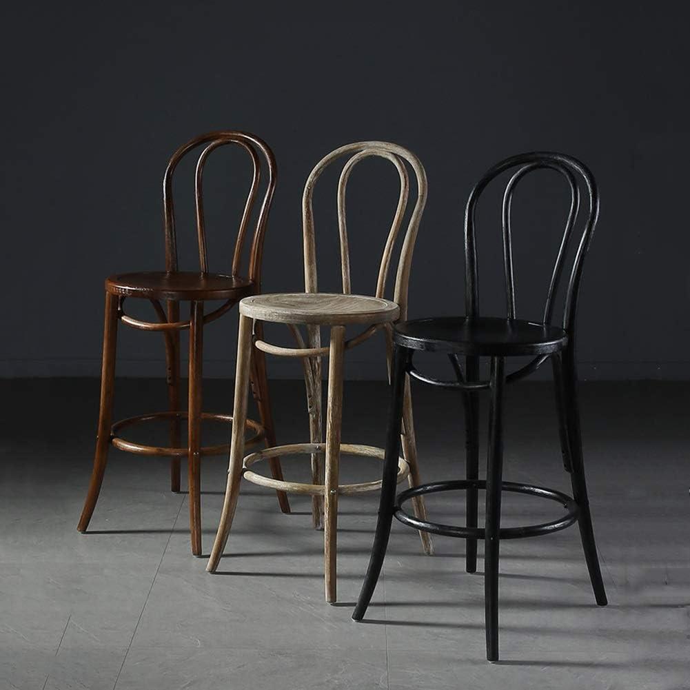 H-Tabourets De Bar Retro Bar en bois Chaises durable Chaise haute tabourets de cuisine Café Maison (Color : Beige) Black