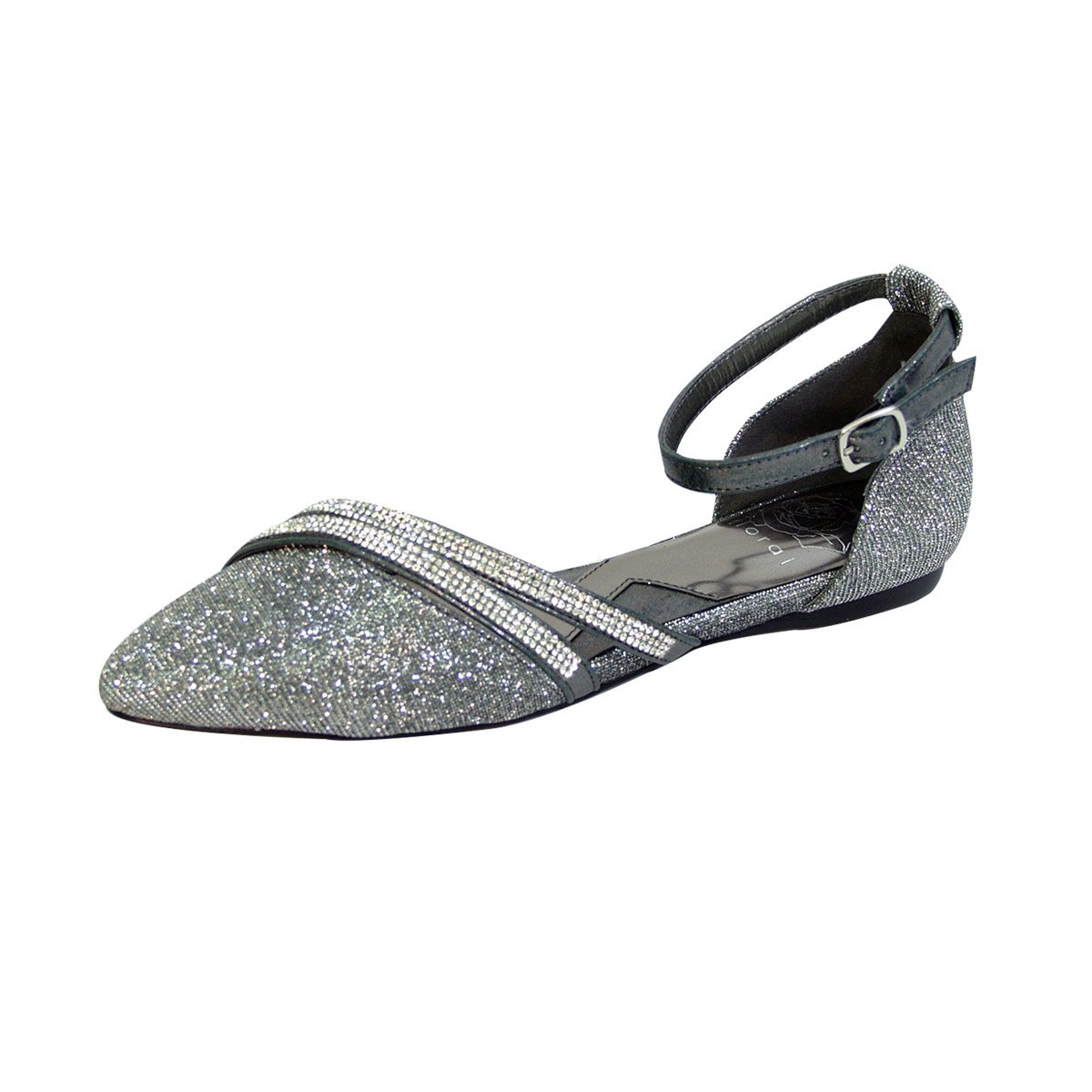 Fuzzy Hallie Women Wide Width Open Shank Pointed Toe Buckle Ankle Strap Flats (Size & Measurement) B0773S9X9V 7 D|Pewter