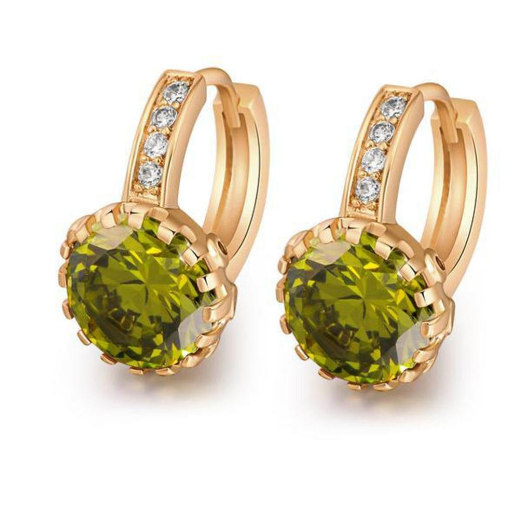 18K Yellow Gold Plated Jewelry 9mm Flower Round Topaz Zircon Drop Hoop Women Party Earrings Wedding - Green/Red/White (Green)