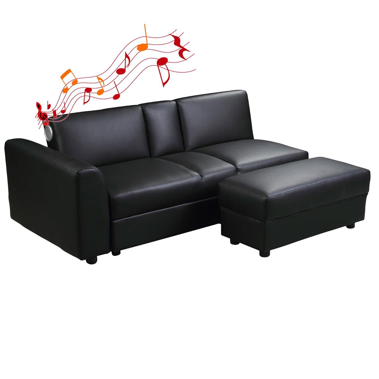 Di-Nesh24 Kin Función sofá con Bluetooth Negro Dormir sofá ...