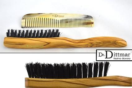 Dr. Dittmar Madera de Olivo Cabello Cepillo con cerdas de jabalí Reales y Auténtica Cuerno