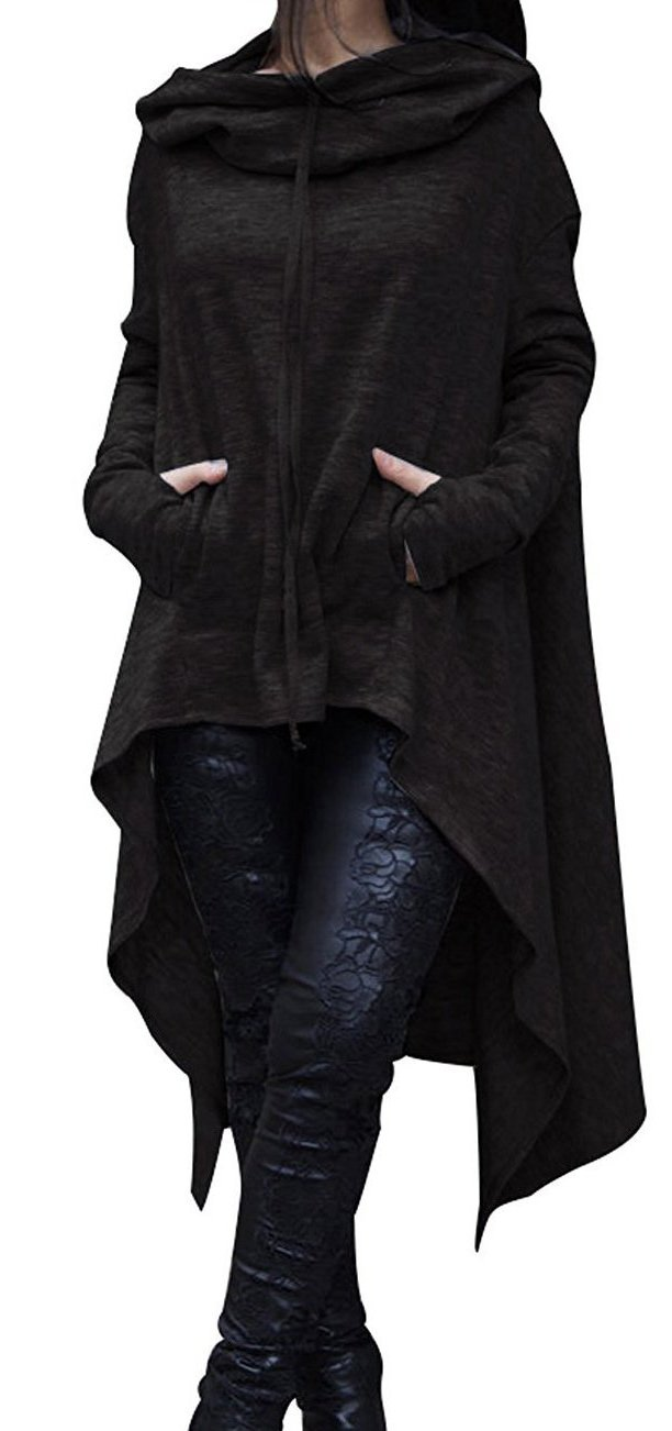 SEENFUN Women's High Low Tunic Sweatshirts Dress String Hoodie with Kangaroo Pocket Black X L