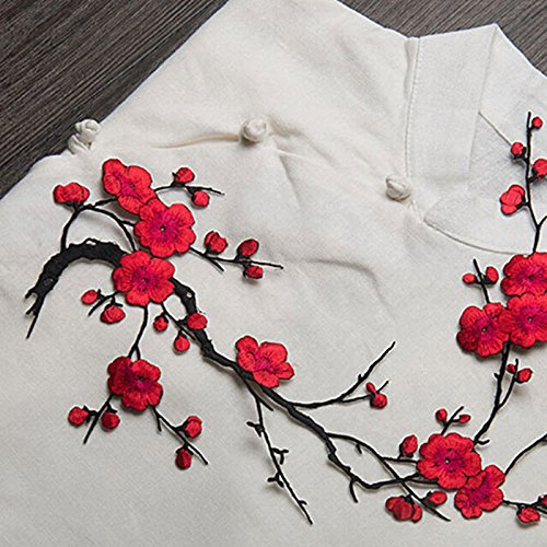 New Plum Blossom Flower Applique Clothing Embroidery Patch Fabric Sticker Iron On Sew On Patch Craft Sewing Repair (Hawthorne Wardrobe)