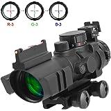 Aomekie AO5007 Optics 4x32 Red/Green/Blue Triple Illuminated Rapid Range Reticle Scope With Top Fiber Optic Sight