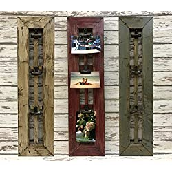 PHOTO HOLDER with CLIPS Rustic Window Pane Picture Frame -Reclaimed Wood Distressed *River Rock Blue Gray *Antique White Red Cream *CLIP PICTURES TO DISPLAY! *Memo Board *Mail 28.5 x 7.5 x 1.25