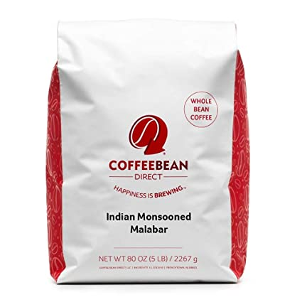Amazon Com Coffee Bean Direct Indian Monsooned Malabar Whole Bean Coffee 5 Pound Bag Roasted Coffee Beans Grocery Gourmet Food