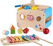 Joyshare 3 in 1 Pounding Bench Xylophone and Shape Toys - Educational Matching Blocks multifunctionla Early Educational Set