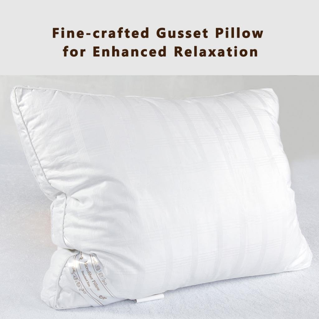 Down Alternative Pillow Fluffy (2 Pack Queen), Best Hotel Pillows with 2'' Gusset 100% Cotton Cover, Hypo-Allergenic Sleeping Pillow by The Duck And Goose Co by The Duck And Goose Co (Image #2)