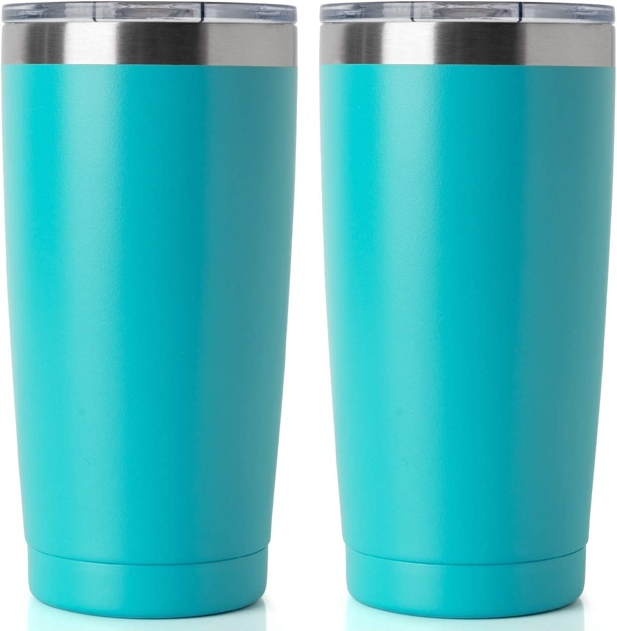 20oz Tumbler Double Wall Vacuum Insulated Coffee Mug Stainless Steel Coffee Cup with Lid, Travel Mug Works Great for Ice Drink, Hot Beverage (2 pack, Turquoise)