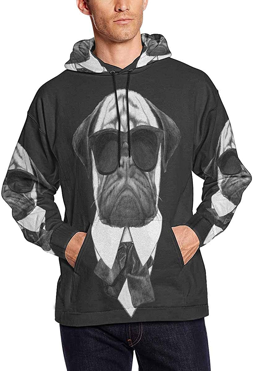 INTERESTPRINT Cool Pug Dog with Sunglasses Long-Sleeve All Over Print Mens Hoodie