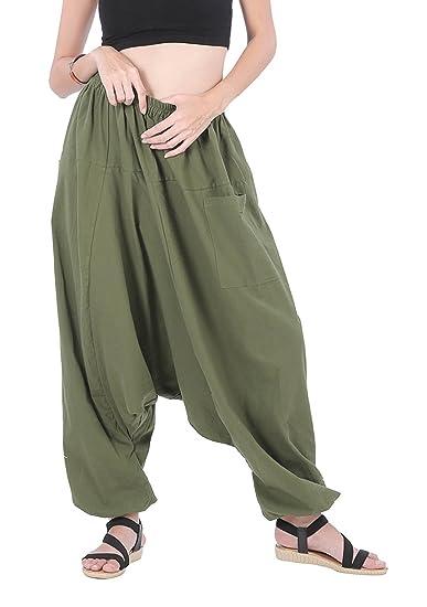 Winmaarc Men Women 100% Cotton Baggy Boho Aladin Yoga Harem ...