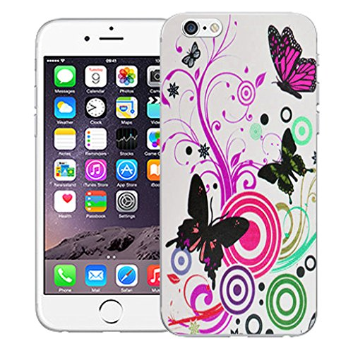 "Mobile Case Mate iPhone 6 4.7"" Silicone Coque couverture case cover Pare-chocs + STYLET - Pink Swirl Butterfly pattern (SILICON)"