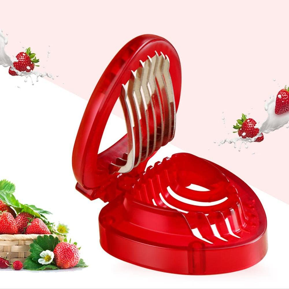 PAWACA Strawberry Slicer Mini Slicer Simple Slice Kitchen Tool Stainless Steel Blade Technology Multipurpose Strawberry Kitchen Widget